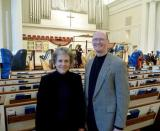 Susan and her student Jeff Olson at the Georgia Chapter Harp Ensemble Concert with 54 Harps 2/09