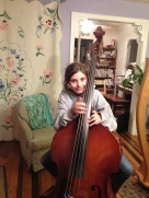 Harp student Sarah playing the bass