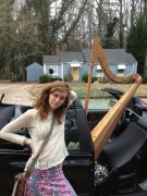 Harp student Lulu loads the harp -- incorrectly