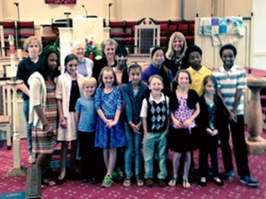 Susan's students celebrating after Group Recital, Columbia Presbyterian Church, May 21, 2015